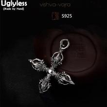 Uglyless Real 925 Sterling Thai Silver Cross Designer Vajra Pendants without Chain Men Buddhism Implement Jewelry Tibetan Bijoux