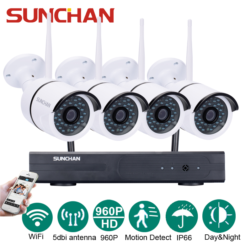 SUNCHAN Plug and Play HD 4CH NVR 960P Wireless CCTV System Outdoor Night Vision Security Camera Home WIFI Surveillance Kit plug and play 4ch 960p wifi nvr kit wireless cctv onvif ip camera system outdoor ir night vision security surveillance for home
