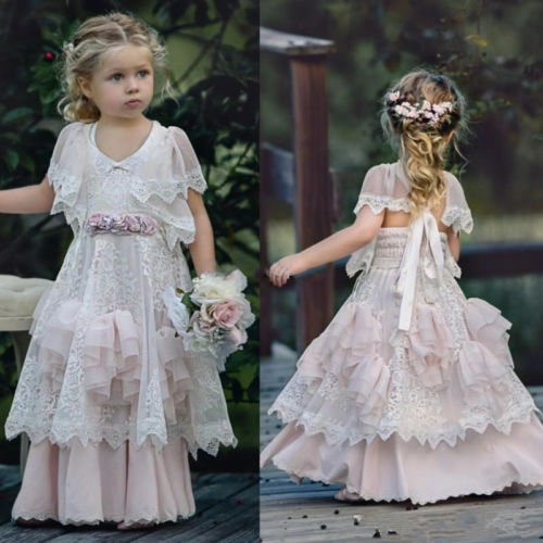 Custom Made Cute Lace Tiered Flower Girl Dress Girls Pageant Prom Party Gowns custom make little girls party dresses one shoulder lace hand made flowers tiered organza tiered ball gown little girls dress