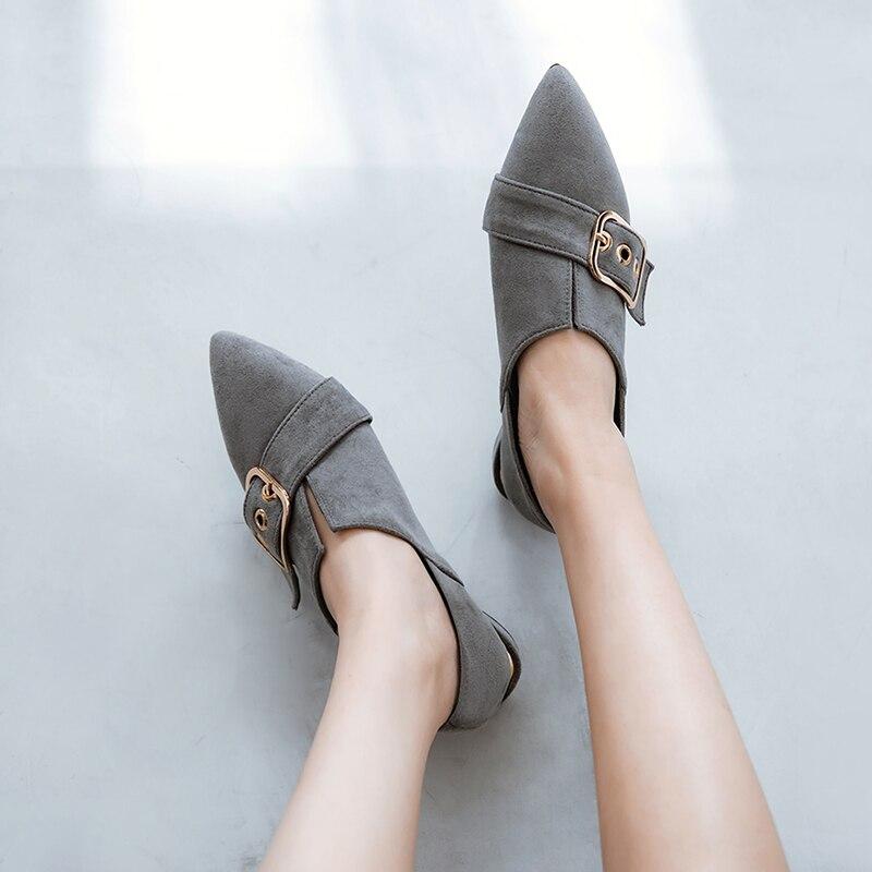 Schwarzes Größe Schwarz 43 Schuhe grau Lässig brown Braun Kappe Frauen Schuh Herbst Poined Frau Niedrige Sommer 34 2018 Neue Ferseschuhe q7aT66