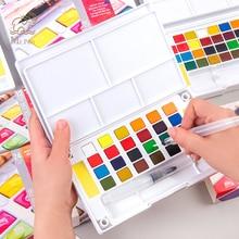 купить Professional 12/18/24/36 Colors Solid Watercolor Paint Set Box with Paintbrush Portable Watercolor Pigment Set Art Supplies по цене 520.24 рублей