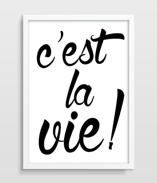 Typographic Druck Cest La Vie Inspirierend Zitat Franzosisch Zitieren Motivation Zitieren Print Schwarz Und