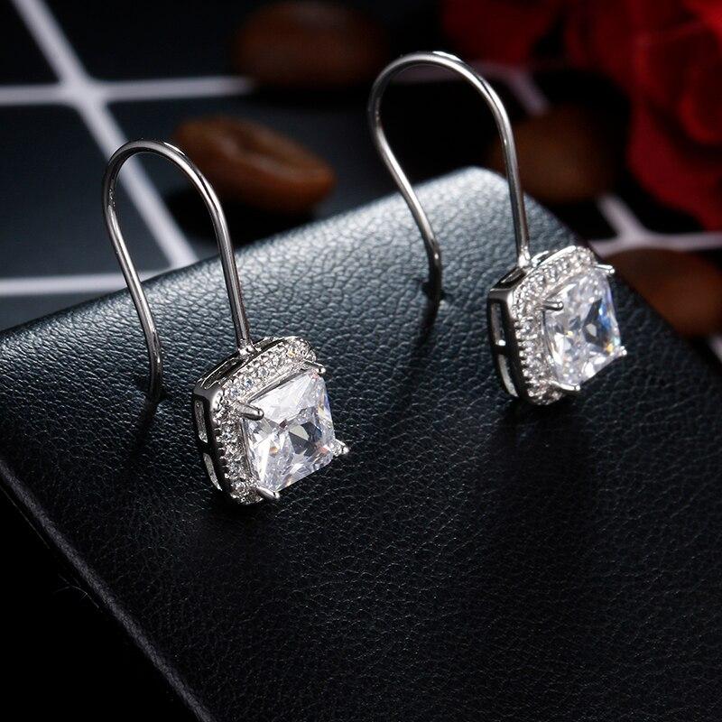 100% 925 sterling silver fashion shiny cz zircon square ladies`drop earrings women jewelry female gift drop shipping cheap