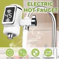 Grifo de agua caliente eléctrico calentador de agua cocina grifo de calefacción en frío sin tanque calentador de agua instantáneo Digital grifo de agua con adaptador