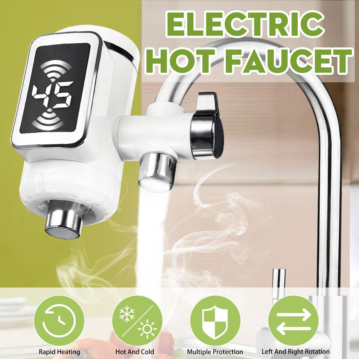 Electric Hot Faucet Water Heater Kitchen Cold Heating Faucet Tankless Digital Instantaneous Water Heater Water Tap with Adapter image