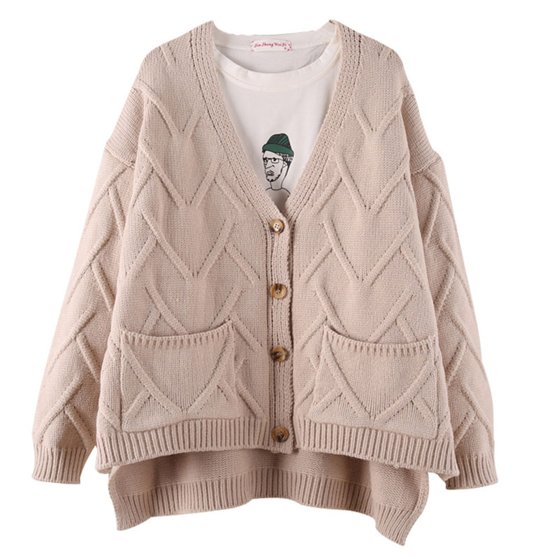 Irregular Knitted Cardigan Women Autumn Winter Drop Shoulder Cable Twist Knitting Sweaters Female Loose Oversize Cardigans Tops