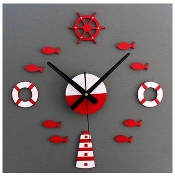 Style méditerranéen bricolage tour gouvernail bouée de sauvetage petit poisson cloche horloge à faire soi-même horloge murale muet