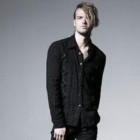 Punk Rave Rock Fashion Visual Kei Heavey Vintage Metal Black Men Top Shirt S XXL Y525