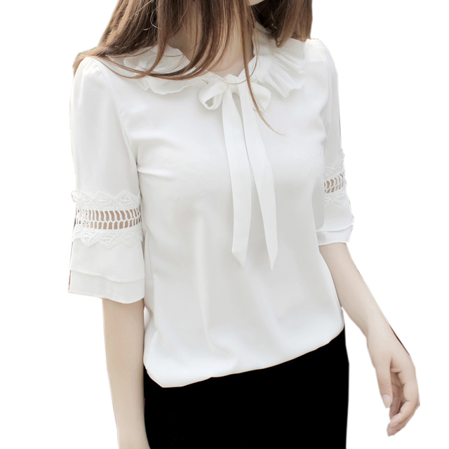 Women white chiffon blouse peter pan collar bow blouse shirt ...