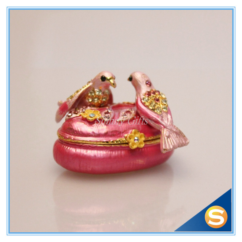 2 Birds Wedding Gifts jewelry box Crystal Studded Wedding Trinket ...