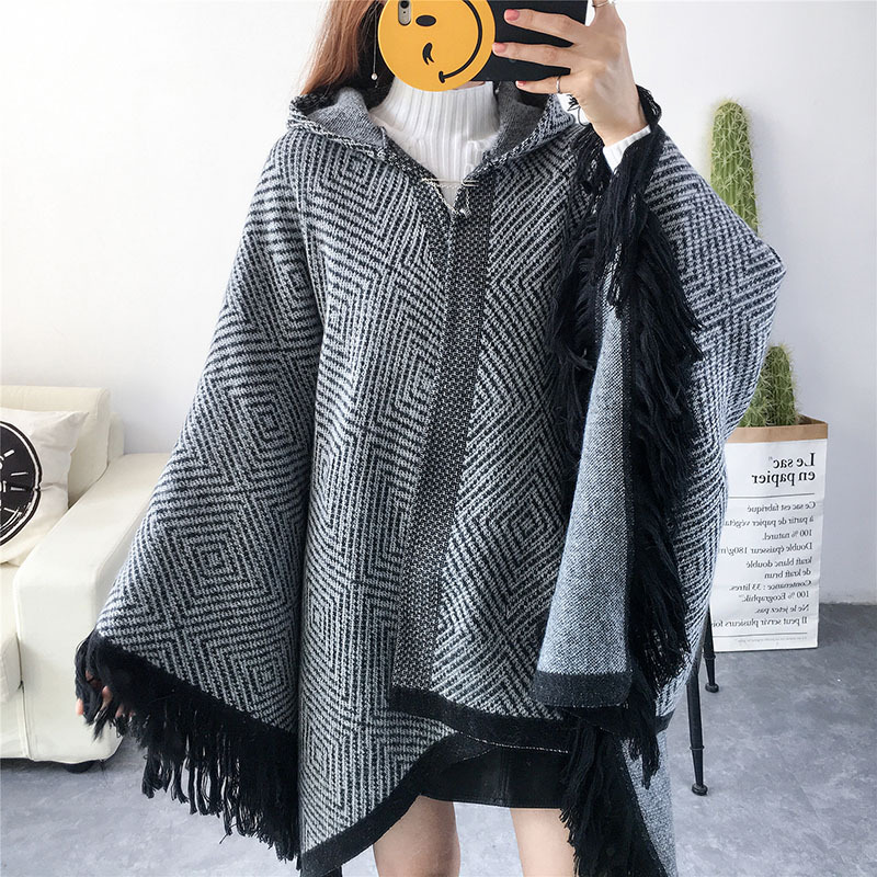 Cardigan women/'s Loose Coat Cashmere Sweater cloak Warm Winter Long knitted