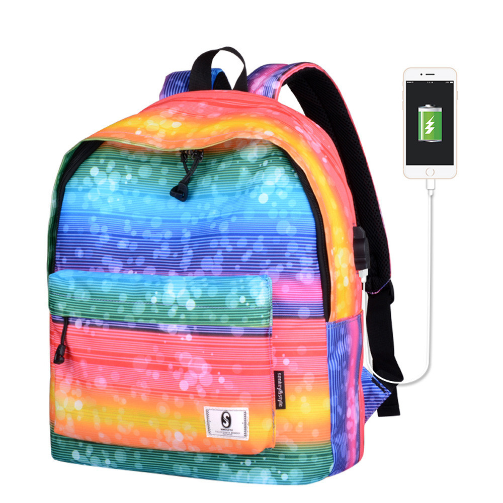 New Fashion Women Backpacks Girls Fresh Print School Shoulder Bags Backpack Travel Rucksack with USB Colorful Bag For Girls