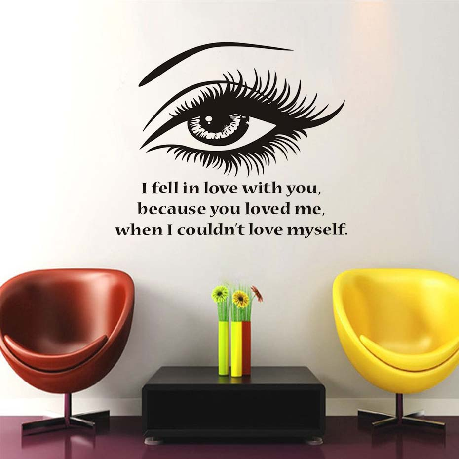 I fell in love with you beautiful eye wall stickers vinyl i fell in love with you beautiful eye wall stickers vinyl removable self adhesive wallpaper living room decals home decor in wall stickers from home amipublicfo Images
