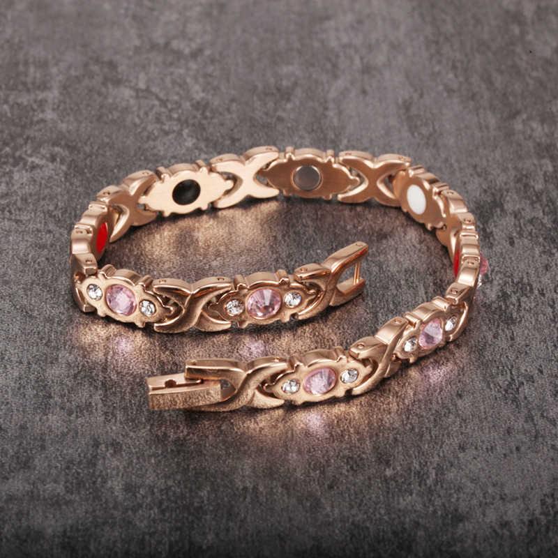 Vinterly pulseras magnéticas de energía para la salud de las mujeres, pulsera de Color oro rosa, pulseras de eslabones de cadena de acero inoxidable para mujer