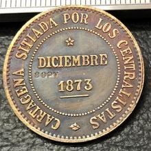 1873 Испания 2 Pesetas-Cantonal Revolution Copy Coin