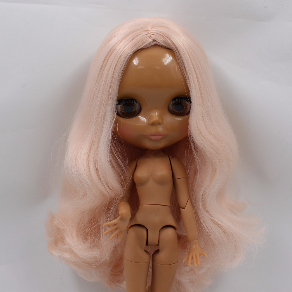 Neo Blythe Doll with Pink Hair, Dark Skin, Shiny Face & Jointed Body 3