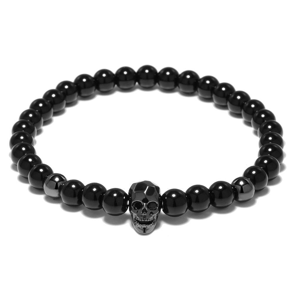 YUXI Steampunk Metal Smile Skull Bracelets Set Elastic Black Beads Chain Skeleton Men Bracelets Sets Male Hand Accessories 4