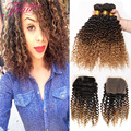 Brazilian Curly Virgin Hair With Closure 7A Kinky Curly Weave Human Hair With Closure Three Tone Ombre Afro Kinky Curly Hair