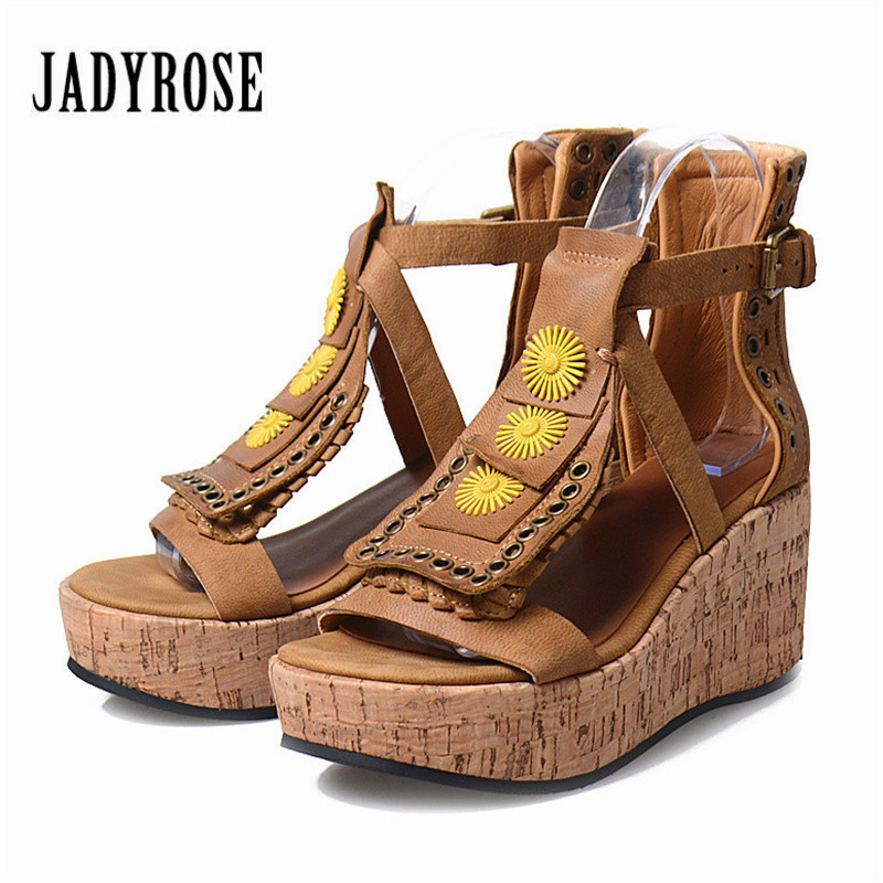 Jady Rose Wedge Shoes for Women Summer Gladiator Sandals Thick Heel Wedge Shoes Woman Platform Sandals Wedges Beach Shoe choudory bohemia women genuine leather summer sandals casual platform wedge shoes woman fringed gladiator sandal creepers wedges