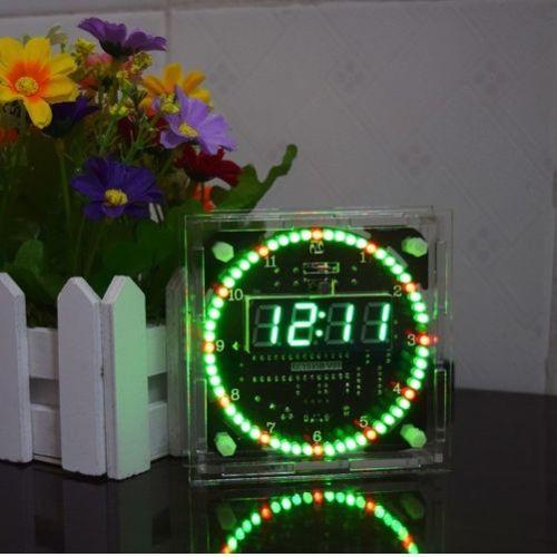 Rotating LED Electronic Temperature DS1302 Display Digital Clock time DIY Kits