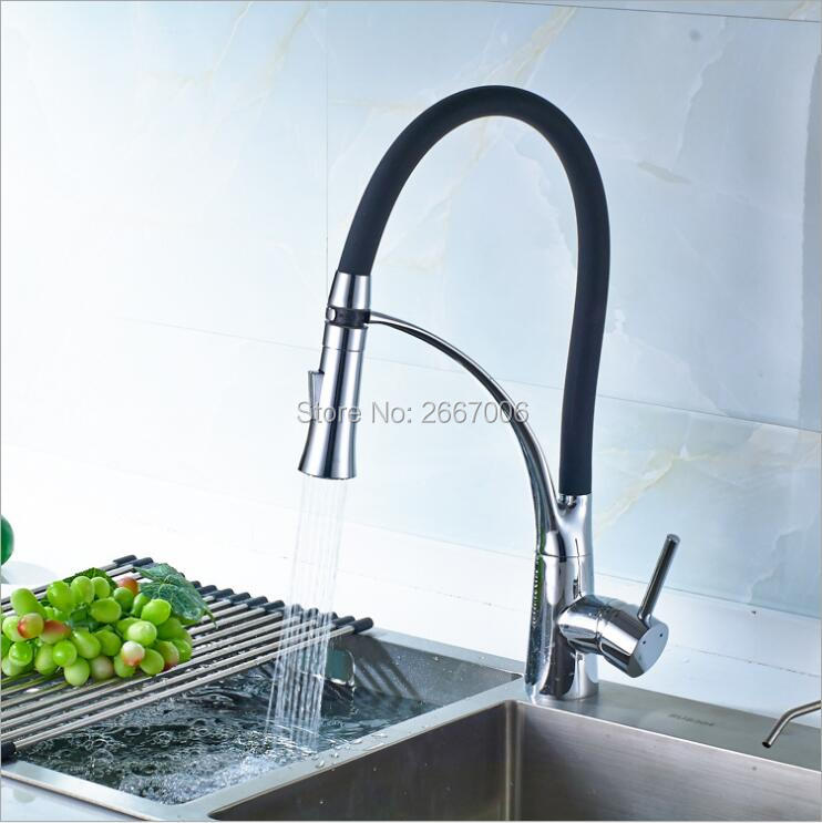 Free shipping Best Selling Chrome Polished Faucet Flexible Mixer Tap Single Handle Hole Deck Mount Kitchen