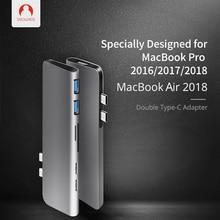 Snowkids USB C HUB Dock for Macbook Air 2018 Charger Type to 2xUSB3.0  2xUSB HDMI SD TF 7in1 MacBook Pro Thunderbolt