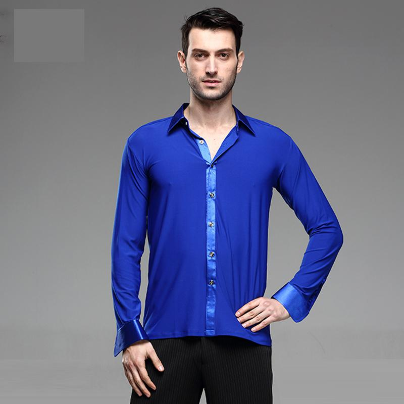 New Male Dance Tops Ballroom Modern Rumba Samba National Standard Danceing Costume Long Sleeve Practice Adult Latin Dance Shirt