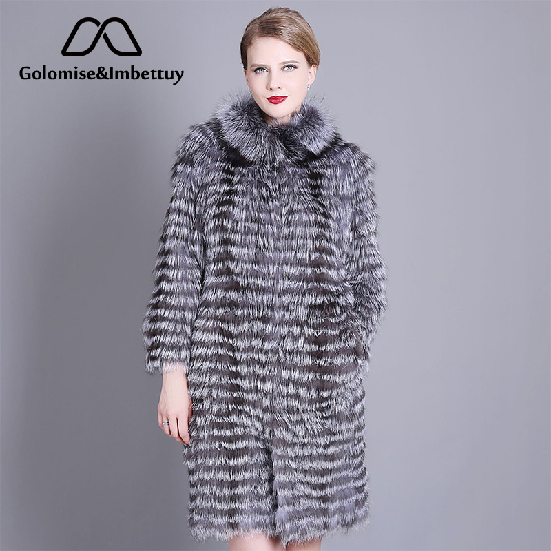Golomise&Imbettuy Ladies Fashion Natural Silver Fox Fur Coat Women Winter Real/Genuine Knitted Silver Fox Fur Coat/Jacket