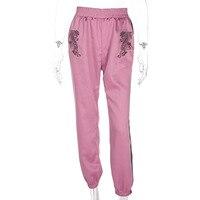 Long Pants Embroidery Tiger Stain Hig Waist Pants Pantalon Women Casual Striped Fashion Streetwear Fitness Trousers
