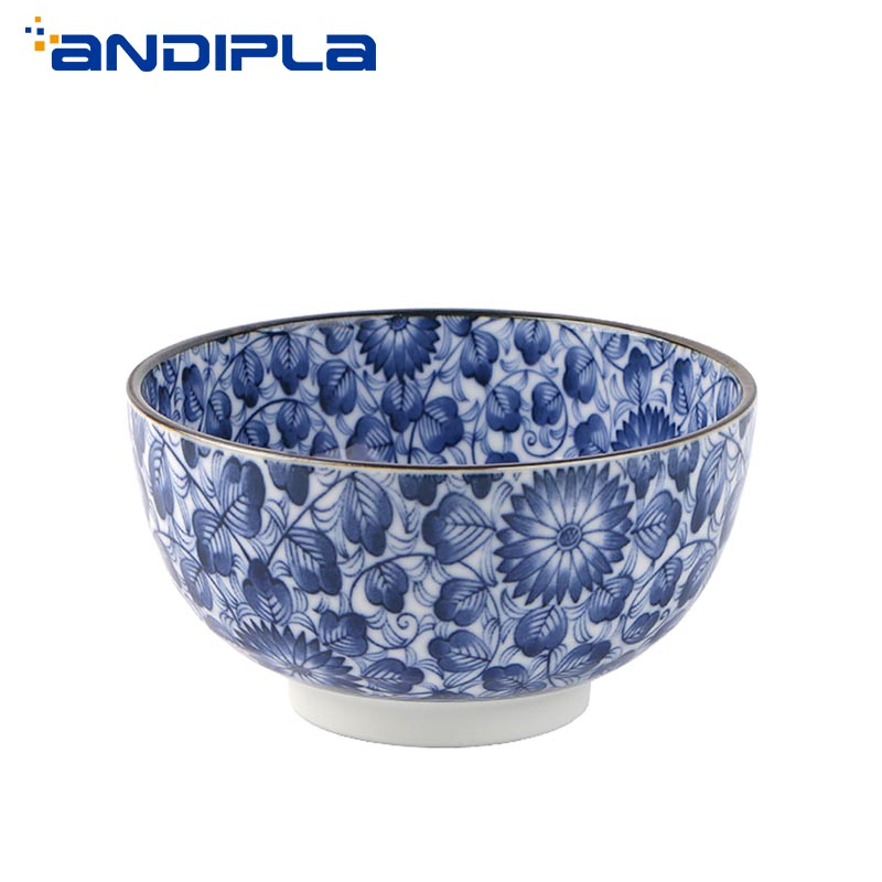Vintage Blue /& White Porcelain Bowl