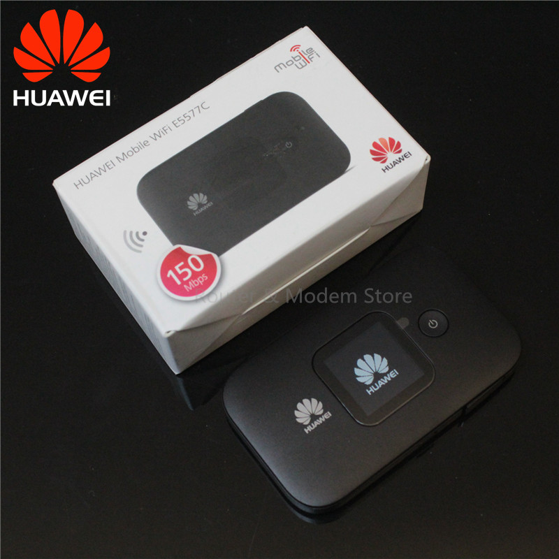 Unlocked Huawei E5577 4G LTE CAT4 E5577cs-321 WIFI Mobile Hotspot Wireless Router with 2 TS-9 antennas white color ...