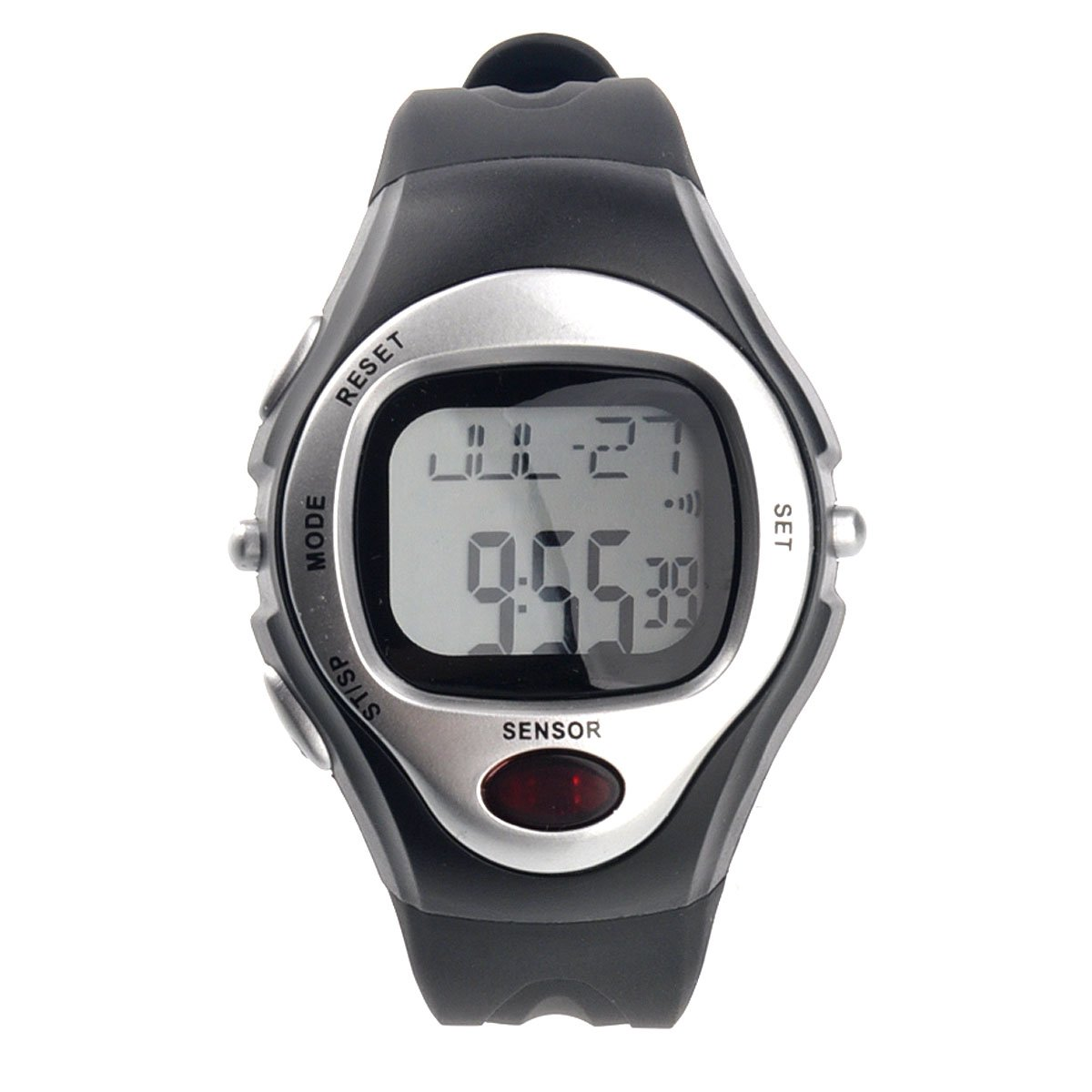 YCYS-R022M Waterproof Sports Pulse Rate Monitor Counter Digital (Silver)
