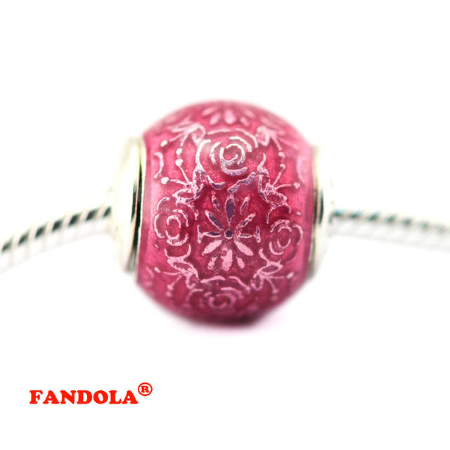 fbd05743a Fits For Pandora Bracelets Freedom Essence Charms with Transparent Cerise  Enamel 925 Sterling Silver Beads Fashion Jewelry FE054