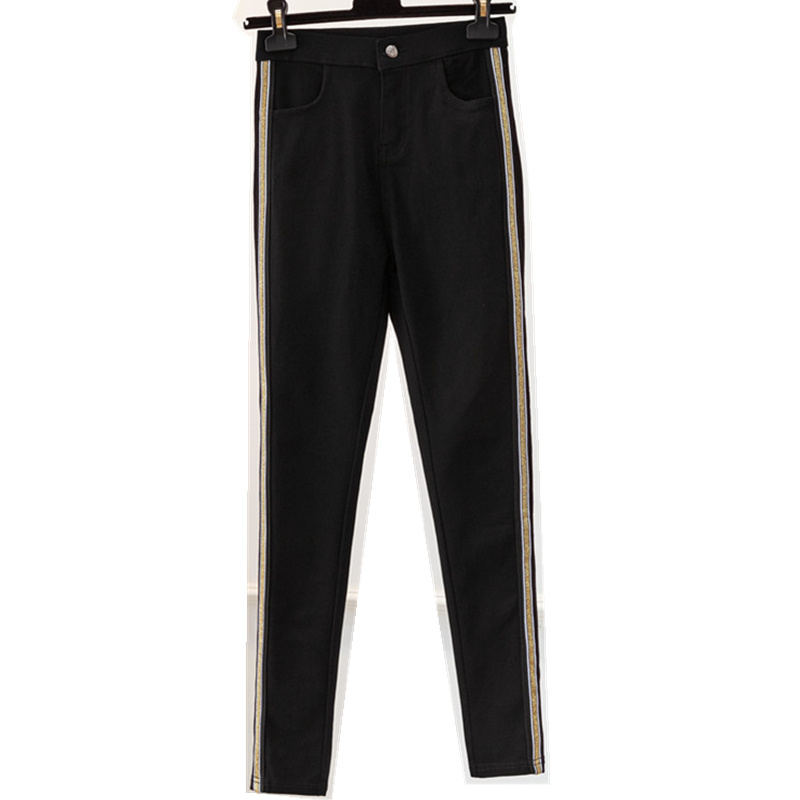 JUJULAND Autumn Women Side Striped Pants Trousers Casual High Elastic Waist Slim Pencil Pants female Sweatpants Plus Size 1912 in Pants amp Capris from Women 39 s Clothing