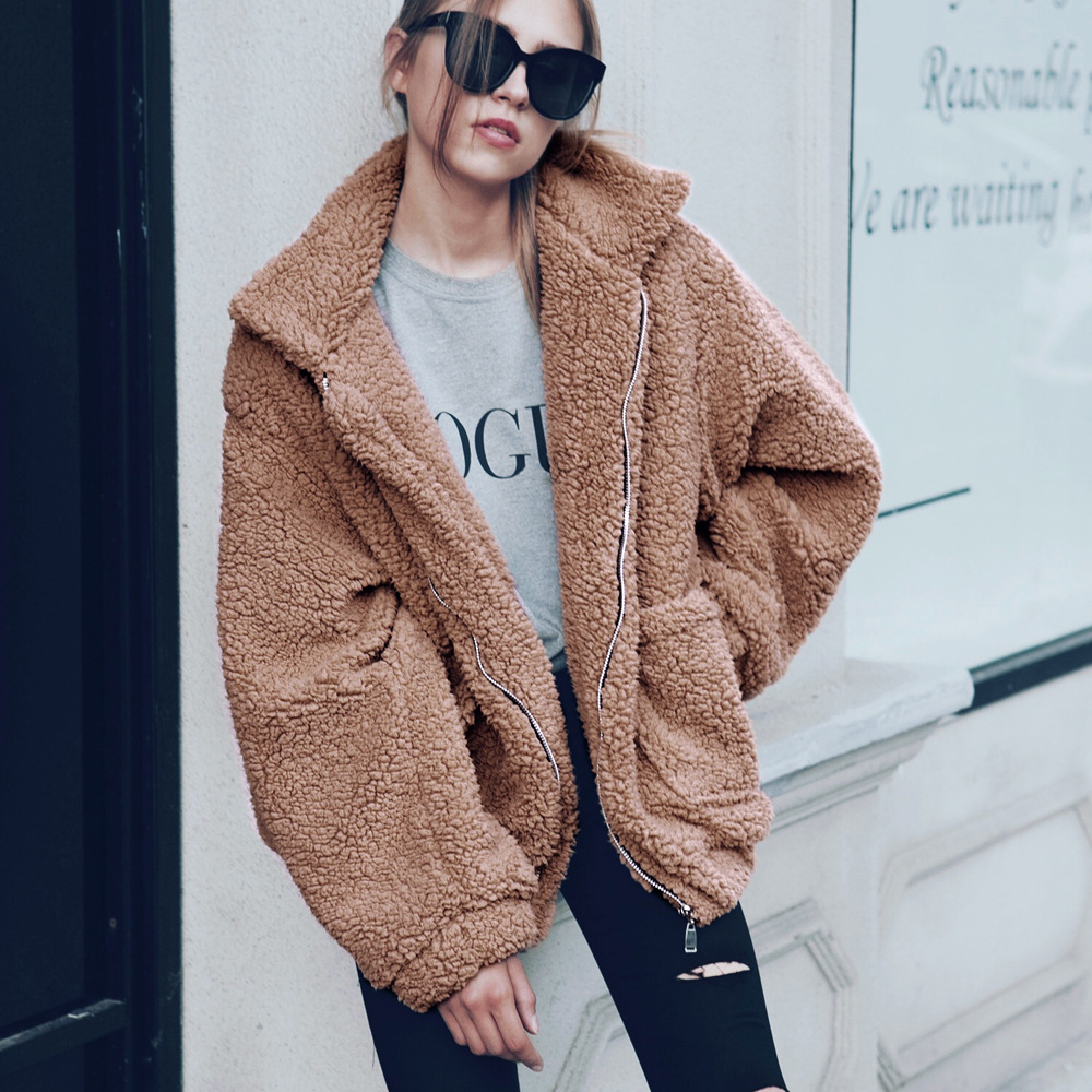 Autumn Winter Warm Coats Women 2019 Casual   Basic     Jackets   Fur Wool Blends Female Plush Loose Red Coat Woman Plus Size Overcoat