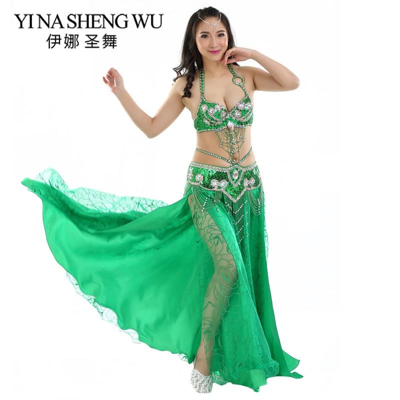 New Adult Belly Dance Costume Professional Oriental Dance Performance Clothing 2/3-pieces Set Belly Dance Sequin Bra Belt Skirt