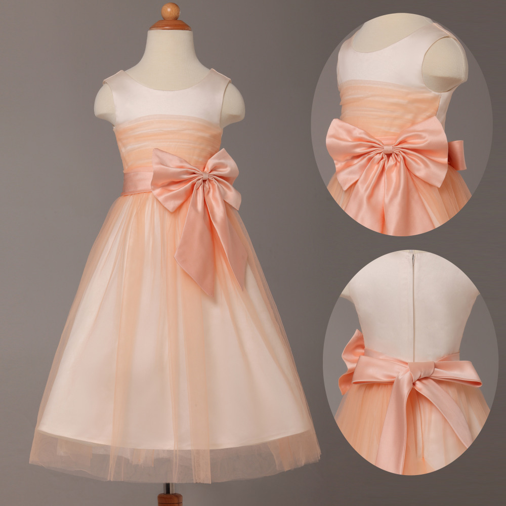 Princess peach flower girl dresses for wedding evening for Peach dresses for wedding