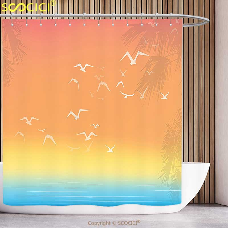 Stylish Shower Curtain Seagulls Decor Tropical Themed Island Sunset Print with Setting Sun Sea Palm Trees and Birds in Flight