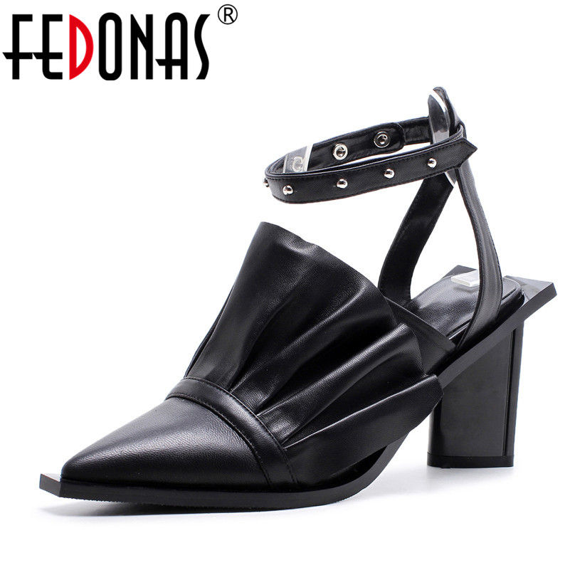 FEDONAS Woman Sandals 2020 Summer Genuine Leather Gladitor Pointed Toe Shoes Woman Fashion Night Club Sandals