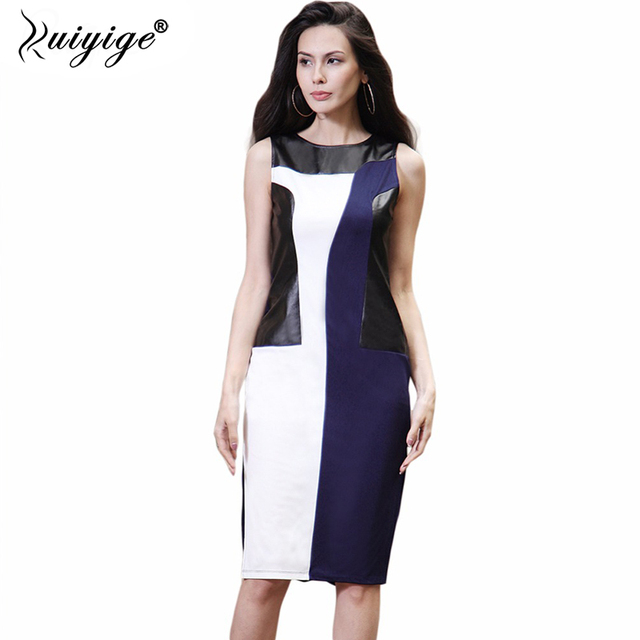 Ruiyige 2018 Women Ladies Tunic Casual O Neck Party Night Club Dress Slim Splits Front Tank Leather Dresses Fashion Patchwork