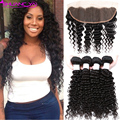 Lace Frontal Closure With Bundles 7a Brazilian Deep Wave With Frontal Closure 2/3/4 Pcs Brazilian Curly Virgin Hair with Closure