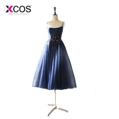 Xcos Navy Blue Formal Evening Dresses Golden Stars Tea Length Short