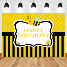 Neoback Bumble Bee Backdrop Sweet As Can Birthday Party Photography Background Honey Black Yellow Stripes Banner