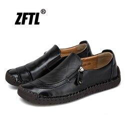 Zftl novos homens mocassins casual homem lazer sapatos feitos à mão tamanho grande 38-48 masculino barco sapatos de couro genuíno deslizamento-on sapatos de condução 017