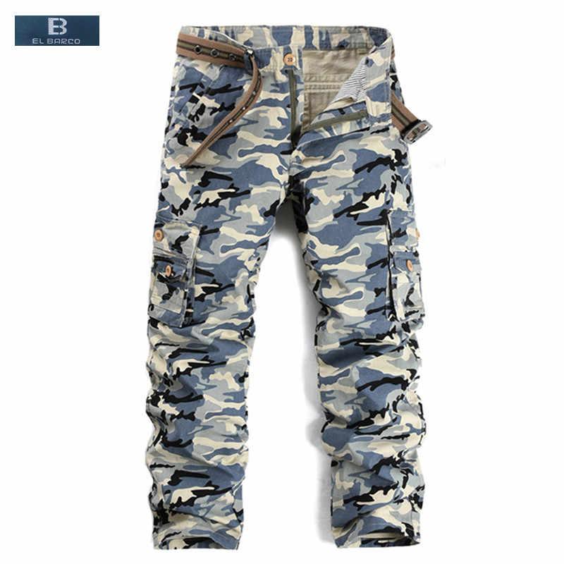 [EL BARCO] 2017 Yeni Pamuk Kamuflaj erkek kargo pantolon Sonbahar Yumuşak Nefes Askeri Mavi Ordu Yeşil Erkek Jogger Pantolon Kumaş