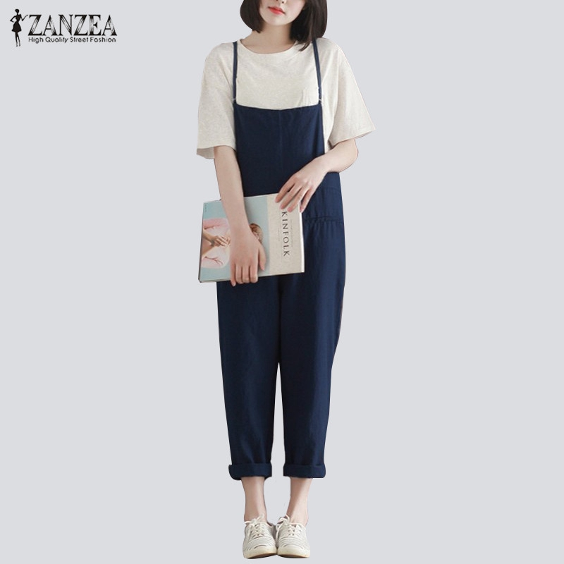 ZANZEA Retro Womens Rompers 2017 Ladies Jumpsuits Casual Solid Loose Spaghetti Strap Sleeveless Pockets Baggy Simple