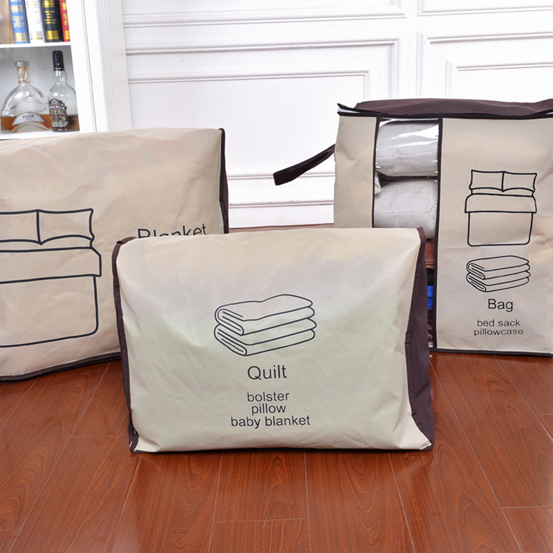 ROSEHOME 4PCS/Set Non-Woven Quilt Organizer Bag Window Zipper Clothes Blanket Toys Quilt Storage Box Housekeeping & Organization Pakistan