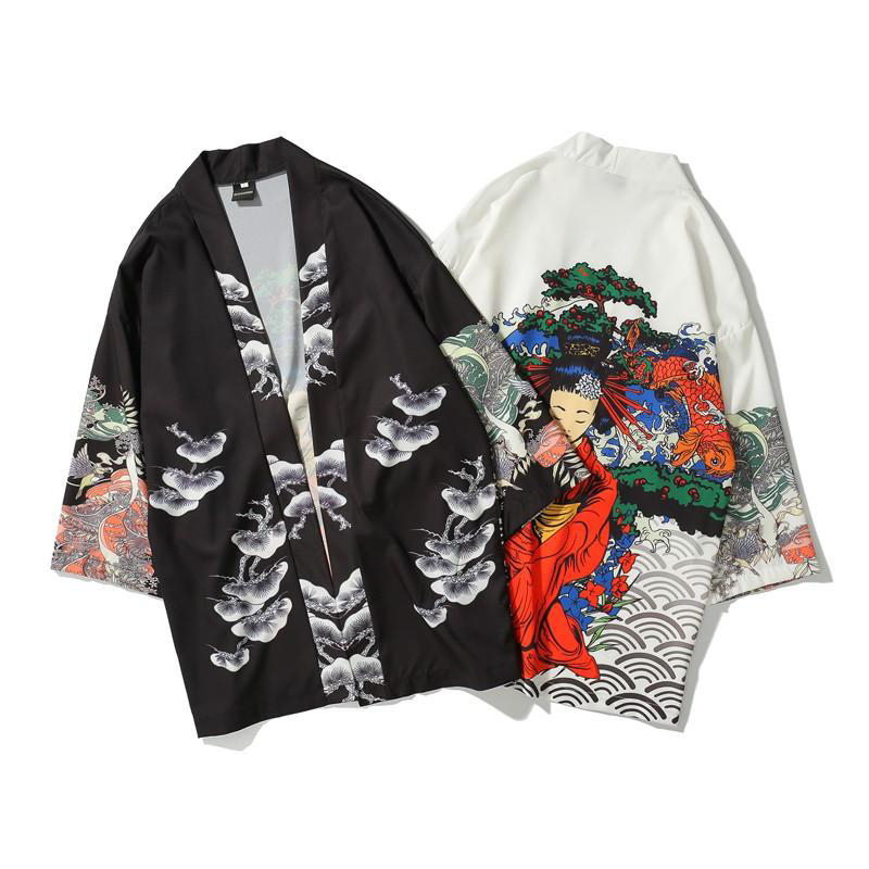 japanese Style kimono yukata women and man japanese Short Robe Loose  kimomo japanese cardigan kimono haori  rash guards(China)