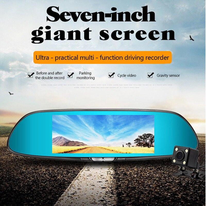 7 дюймов Сенсорный экран Видеорегистраторы для автомобилей HD 1080 P Двойной объектив автомобиля Зеркало заднего вида Камера Регистраторы Вид...