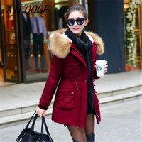 AILOOGE 2018 New Winter Jacket Women Faux Fur Coat With Hood Winter Jacket Thicken Solid Female Military Long Parka